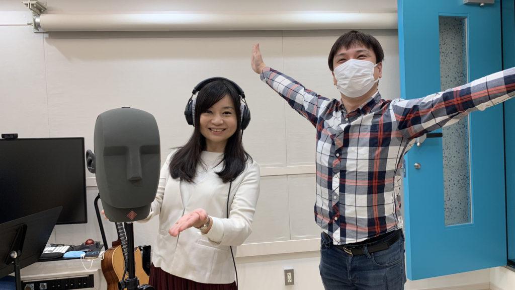 フリーアナウンサーの高木真紀さんとムーンボウミュージック代表加藤