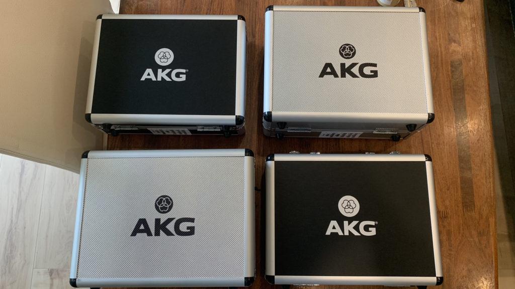 AKGの新製品マイクの新品が綱島レコーディングスタジオに勢揃い